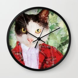 Black and white cat with red suit jacket Wall Clock