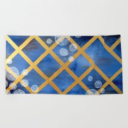 first comes winter Beach Towel