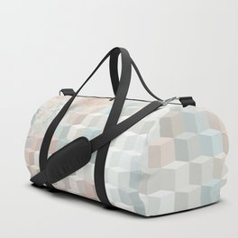 Distressed Cube Pattern - Nude, turquoise and seashell Duffle Bag