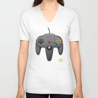 nintendo V-neck T-shirts featuring Nintendo 64 by S3NTRYdesigns