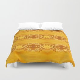 Golden Hibiscus Abstract Pattern Duvet Cover
