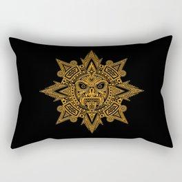 Ancient Yellow and Black Aztec Sun Mask Rectangular Pillow