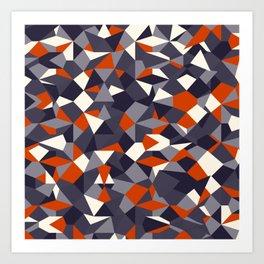 Fragmented geometrics - orange and grey shades Art Print