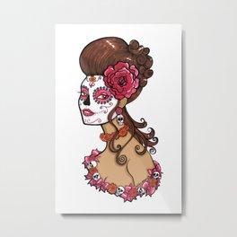 Glamorous Sugar Skull Girl Metal Print