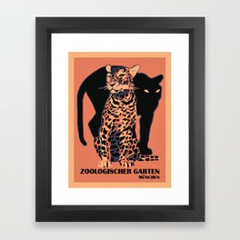 Retro vintage Munich Zoo big cats Framed Art Print