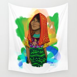 Ustup - kuna/guna girl Wall Tapestry