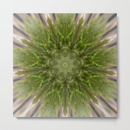 Currant Leaf Mandala Metal Print