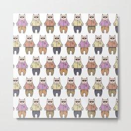 Cute cartoon cats pattern Metal Print