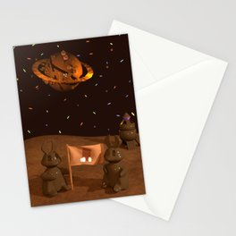 Chocolate Bunny Moon Landing Stationery Cards