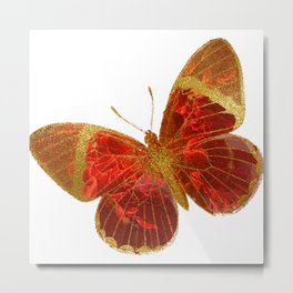 Gold Glitter Scarlet Red Butterfly Design Metal Print