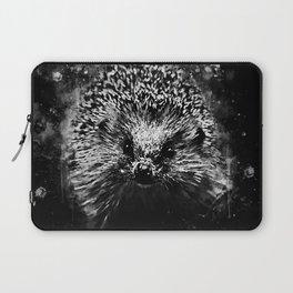 hedgehog watercolor splatters black white Laptop Sleeve