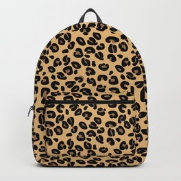 Classic Black and Yellow / Brown Leopard Spots Animal Print Pattern Backpack