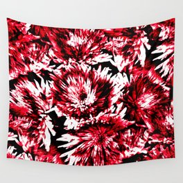 Red Black Abstract Flower Pattern  #Dahlias #Flowers Wall Tapestry