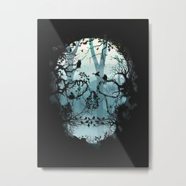Dark Forest Skull Metal Print
