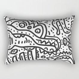 Cool Graffiti Art Doodle Black and White Monsters Scene Rectangular Pillow