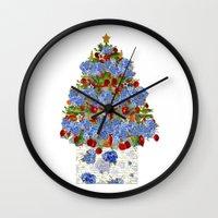cape cod Wall Clocks featuring A Cape Cod Christmas by KarenHarveyCox