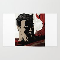 man of steel Area & Throw Rugs featuring MAN OF STEEL by Taylor Callery Illustration
