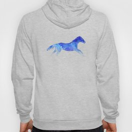 Running Watercolor Horses Pattern - Blue Hoody