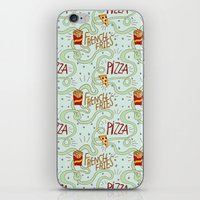 fries iPhone & iPod Skins featuring PIZZA & FRIES by Josh LaFayette