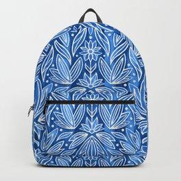 Rococo Silver Enamel Art Deco on Blue Backpack