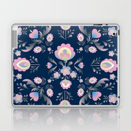 Folk Flowers in Pink and Indigo Laptop & iPad Skin