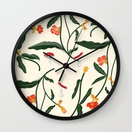 Mushrooms and Flowers Hanging Out Wall Clock