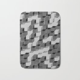 Pixel Cube - Black Silver Bath Mat