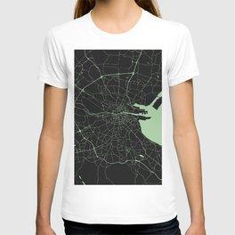 Dublin Street Map Black and Lime Green T-shirt