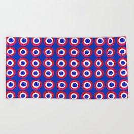 Donut Evil Eye Amulet Talisman - red on blue doughnut Beach Towel