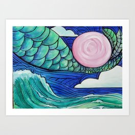 Flying Mermaid #3 Art Print