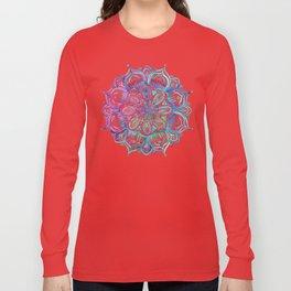 Iridescent Aqua and Purple Watercolor Mandala Long Sleeve T-shirt