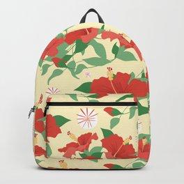 Retro Hibiscus Flowers Backpack