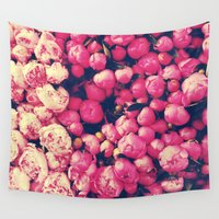 peonies Wall Tapestries featuring Peonies by Sasha H