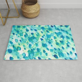 Blue, Green and Aqua Abstract Watercolor Painted Spots Rug