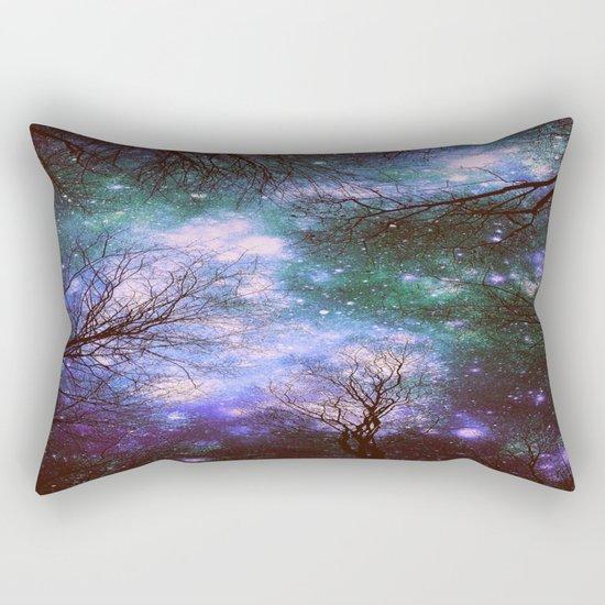 Black Trees Purple Green Space Rectangular Pillow