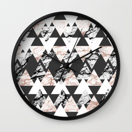 Modern Black White Rose Gold Marble Geo Triangles Wall Clock