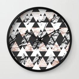 Modern Black White Rose Gold Marble Geo Triangles Wall Clock