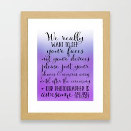 Wedding Photography - Purple Framed Art Print