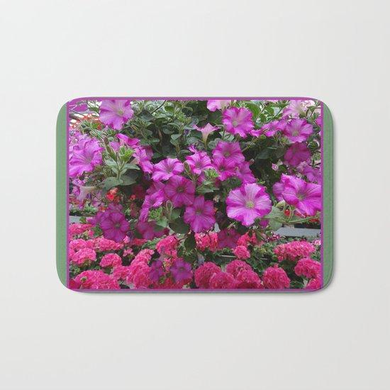 Pink Flowers on Green Bath Mat