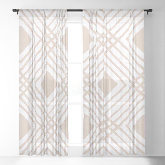 Criss Cross Diamond Pattern in Tan Sheer Curtain