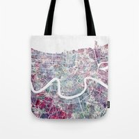 new orleans Tote Bags featuring New Orleans  by MapMapMaps.Watercolors