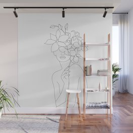 Minimal Line Art Woman with Orchids Wall Mural