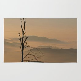 Landscape with Mountains - Tree and Fog Rug
