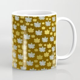 gold, silver, metal shiny maple leaf on shimmering texture Coffee Mug