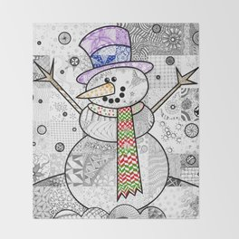 Coloured Snowman Throw Blanket