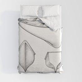 Canoe Patent - Kayak Art - Black And White Duvet Cover