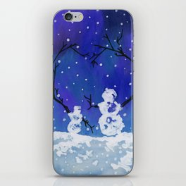 The Heart of Snowmen on a Winter Snowfall Day by annmariescreations iPhone Skin
