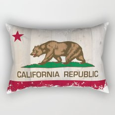 California Republic flag on woodgrain   Rectangular Pillow