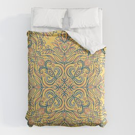 Coral, Blue and Orange Textured Folk Art Doodle Comforters