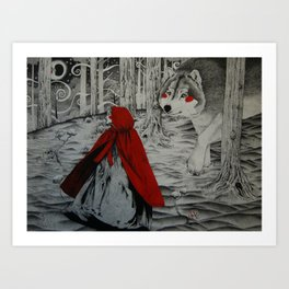 A meeting in the woods Art Print